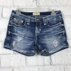 Big Star Womens Size 26 Short Blue Distressed